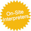star with text offering interpreting services from £28 per hour