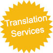 star with text offering translation services from 8p per word