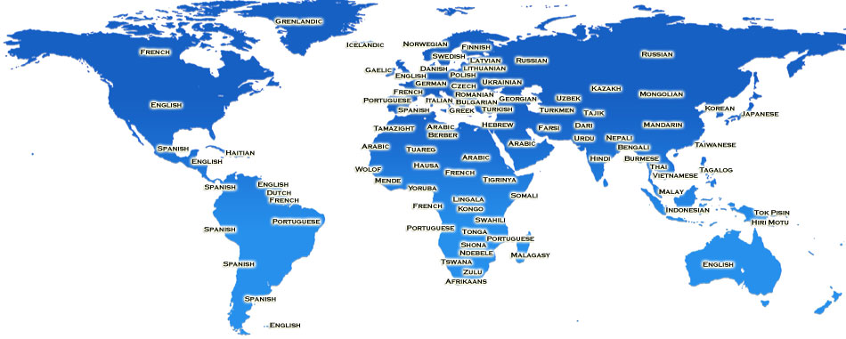 Languages translators and interpreters bostico international uk world language map gumiabroncs Choice Image